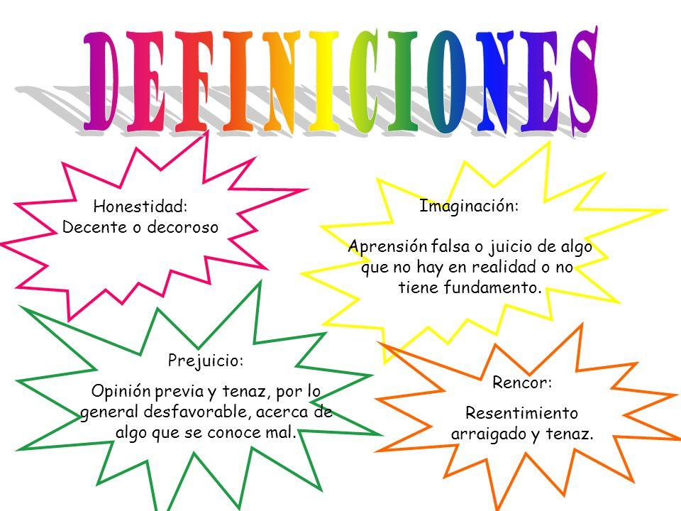 Definiciones Honestidad: Imaginación: Decente o decoroso