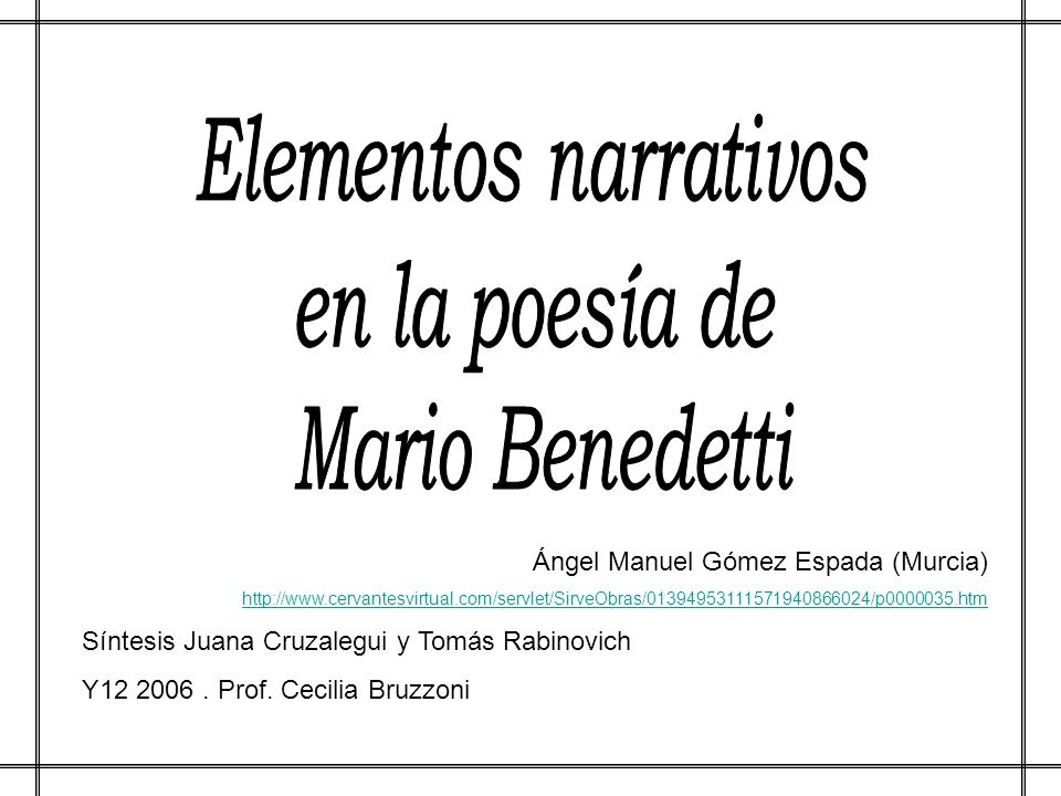Elementos narrativos en la poesía de Mario Benedetti
