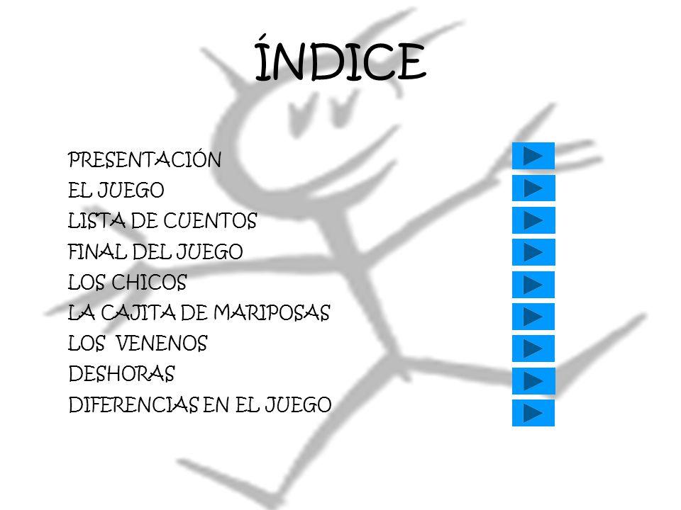 ÍNDICE PRESENTACIÓN EL JUEGO LISTA DE CUENTOS FINAL DEL JUEGO