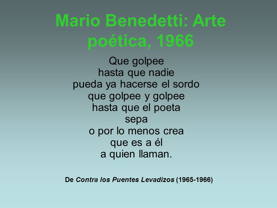 Mario Benedetti: Arte poética, 1966
