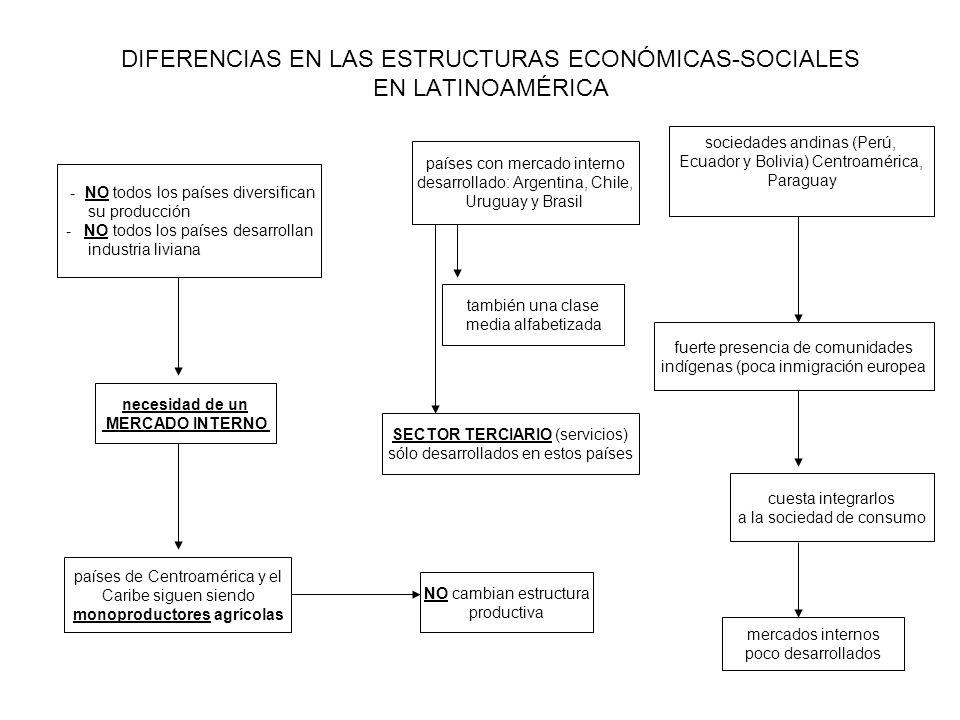 DIFERENCIAS EN LAS ESTRUCTURAS ECONÓMICAS-SOCIALES EN LATINOAMÉRICA