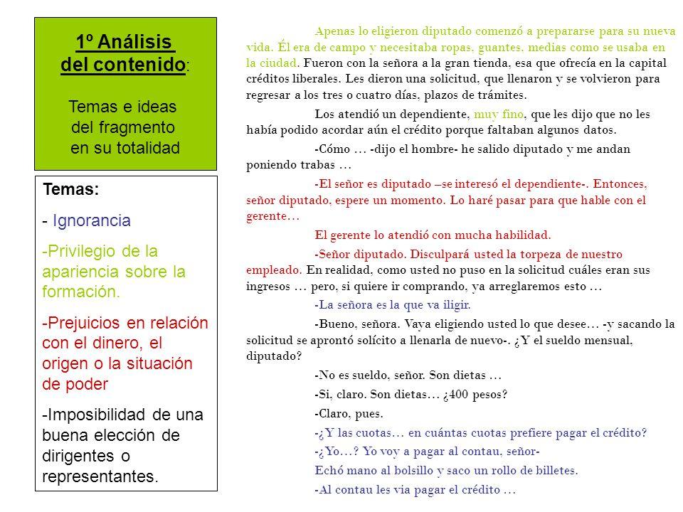 1º Análisis del contenido: Temas e ideas del fragmento en su totalidad