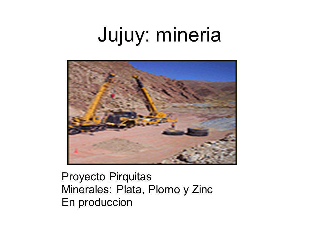 Jujuy: mineria Proyecto Pirquitas Minerales: Plata, Plomo y Zinc
