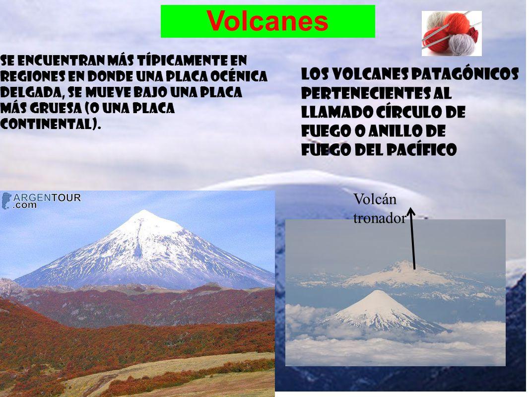 Volcanes Se encuentran más típicamente en regiones en donde una placa océnica delgada, se mueve bajo una placa más gruesa (o una placa continental).