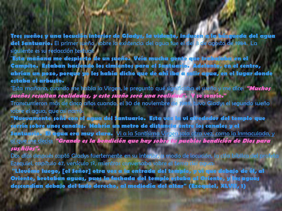 Tres sueños y una locución interior de Gladys, la vidente, inducen a la búsqueda del agua del Santuario. El primer sueño sobre la existencia del agua fue el del 3 de agosto de 1984. La siguiente es su redacción textual: