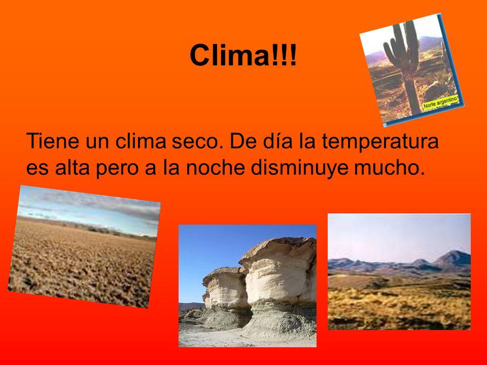 Clima!!! Tiene un clima seco. De día la temperatura es alta pero a la noche disminuye mucho.