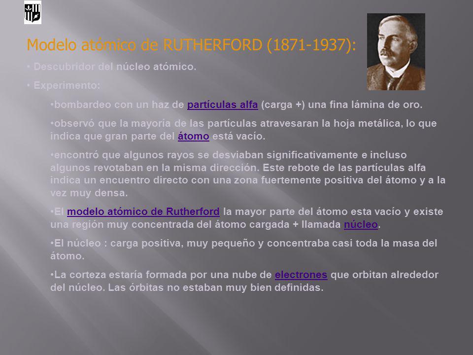 Modelo atómico de RUTHERFORD (1871-1937):