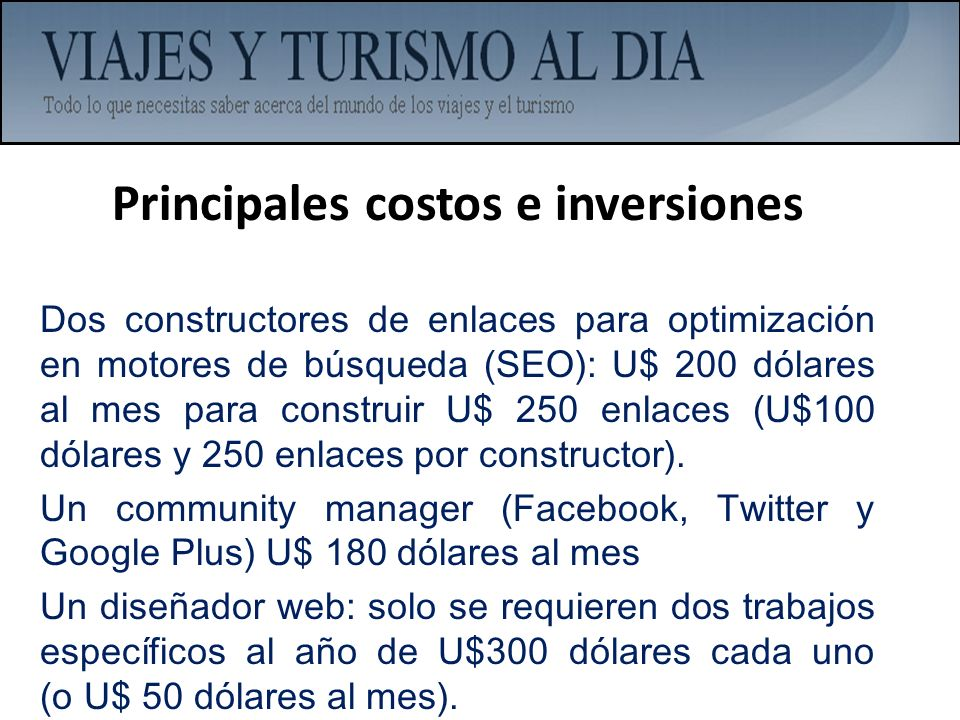 Principales costos e inversiones