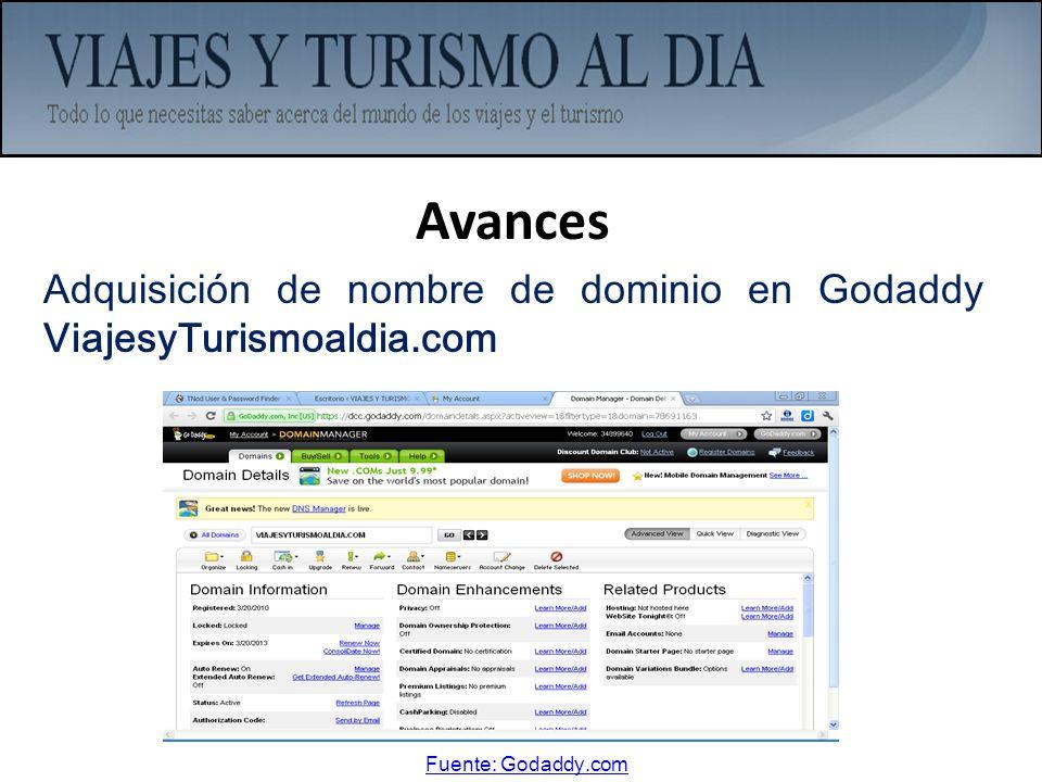 Avances Adquisición de nombre de dominio en Godaddy ViajesyTurismoaldia.com Fuente: Godaddy.com