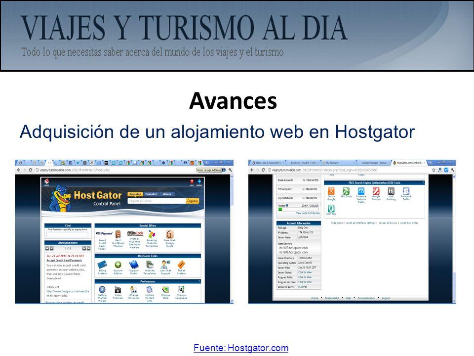 Avances Adquisición de un alojamiento web en Hostgator