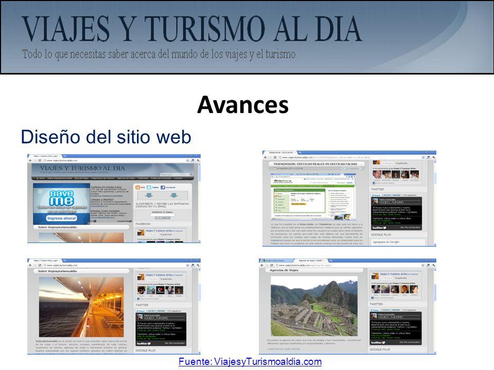 Avances Diseño del sitio web Fuente: ViajesyTurismoaldia.com