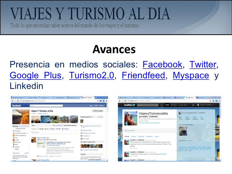 AvancesPresencia en medios sociales: Facebook, Twitter, Google Plus, Turismo2.0, Friendfeed, Myspace y Linkedin.