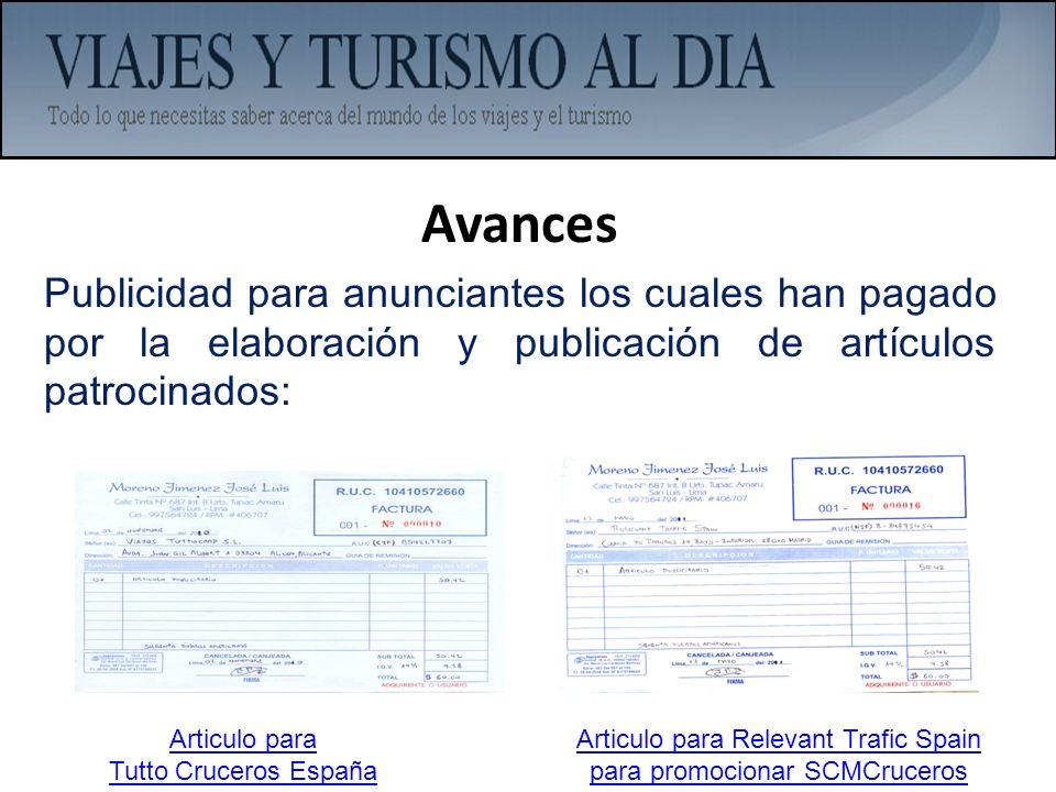 Articulo para Relevant Trafic Spain para promocionar SCMCruceros
