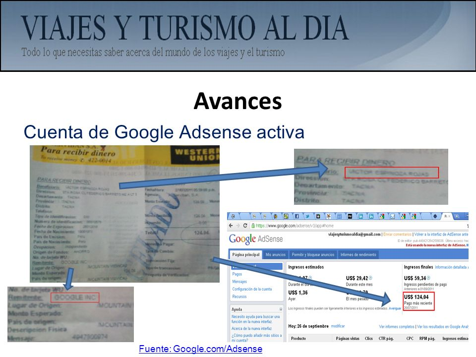 Avances Cuenta de Google Adsense activa Fuente: Google.com/Adsense
