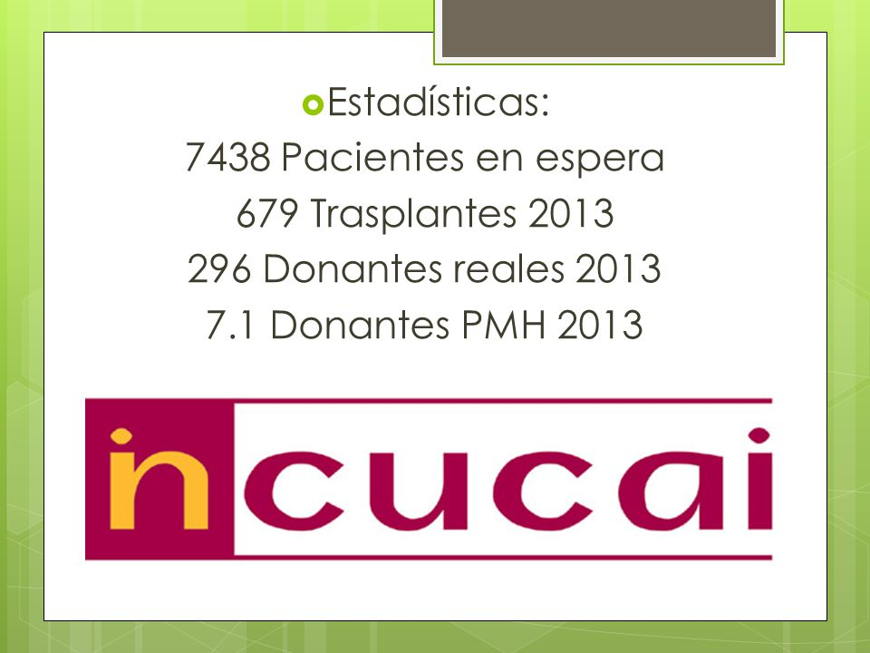 Estadísticas: 7438 Pacientes en espera. 679 Trasplantes 2013.