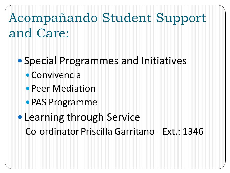 Acompañando Student Support and Care: