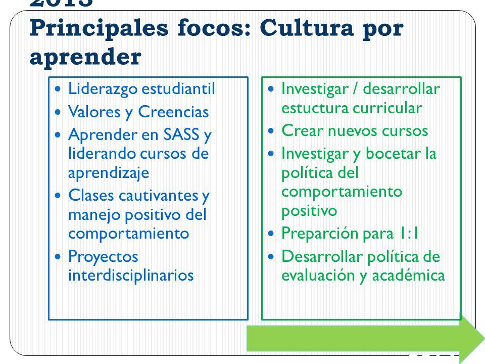 2013 Principales focos: Cultura por aprender