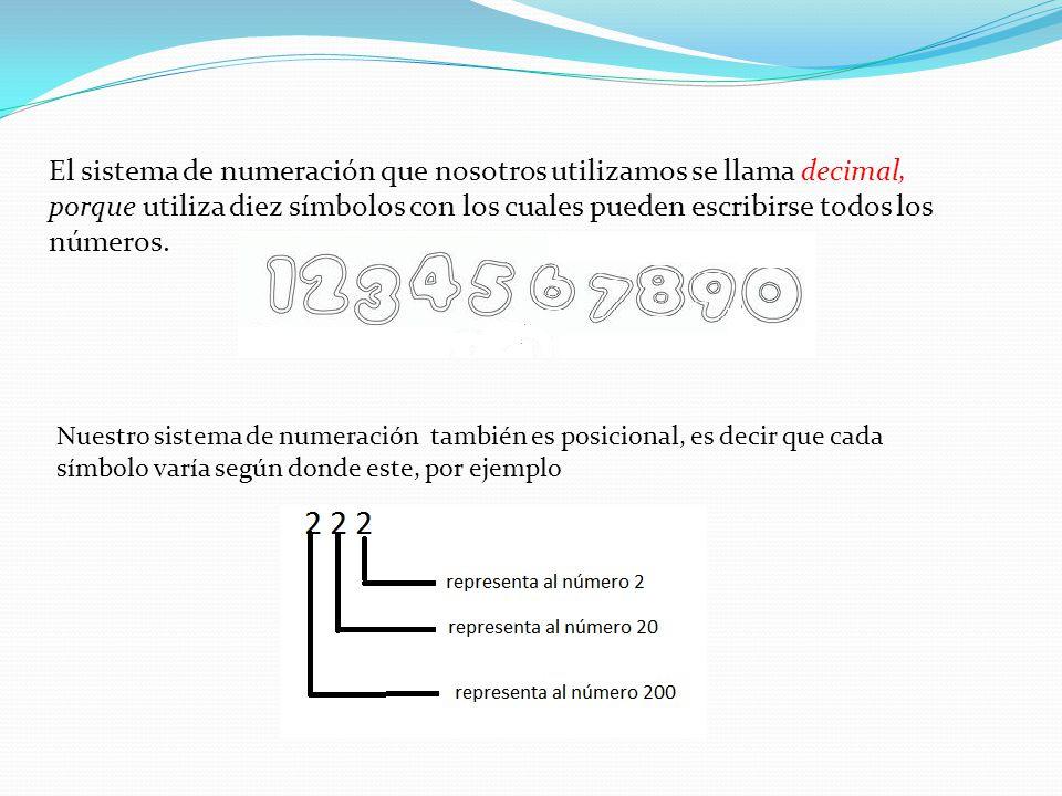 El sistema de numeración que nosotros utilizamos se llama decimal, porque utiliza diez símbolos con los cuales pueden escribirse todos los números.