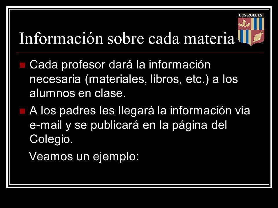 Información sobre cada materia