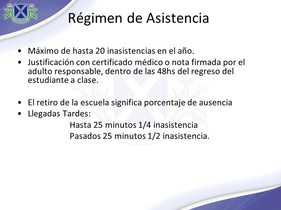 Régimen de Asistencia Máximo de hasta 20 inasistencias en el año.