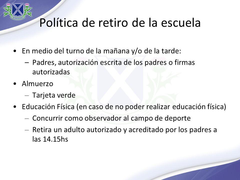 Política de retiro de la escuela