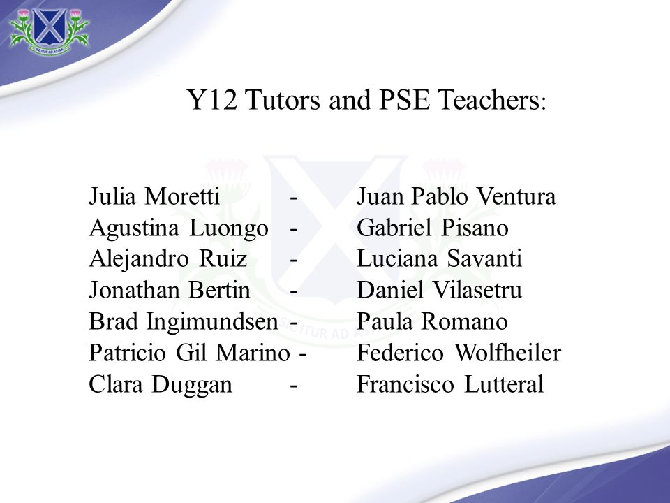 Y12 Tutors and PSE Teachers: