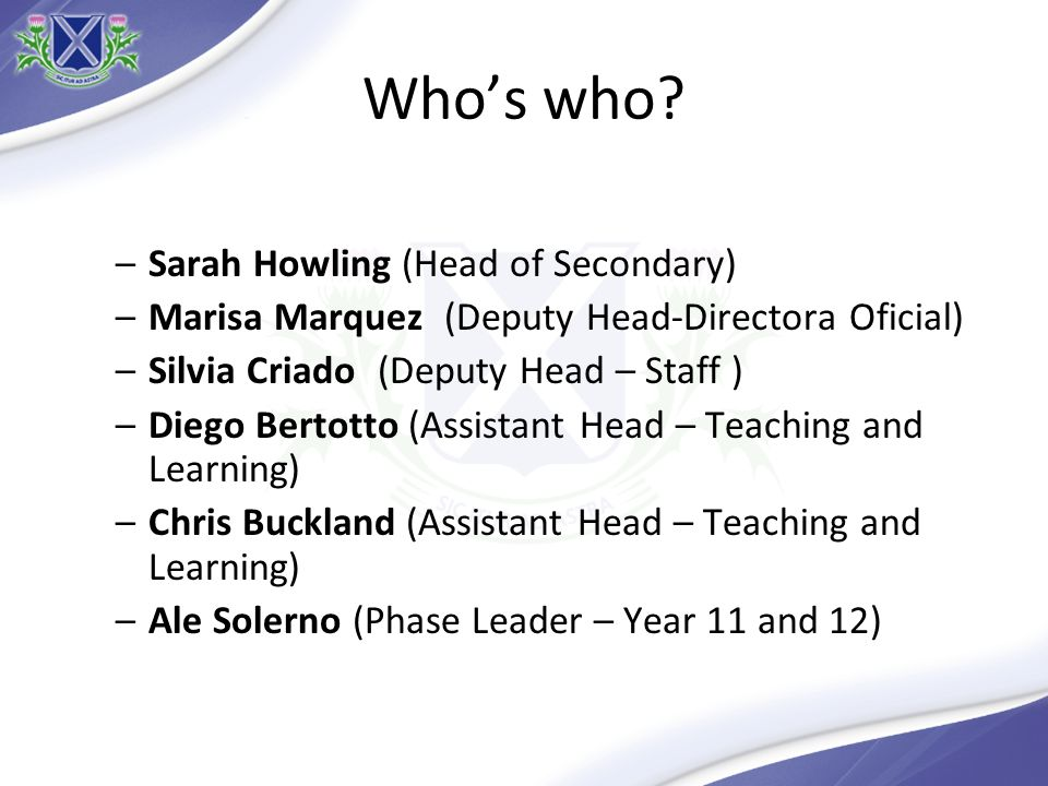 Who's who Sarah Howling (Head of Secondary)