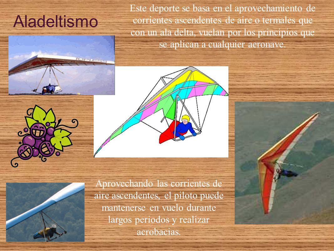 Este deporte se basa en el aprovechamiento de corrientes ascendentes de aire o termales que con un ala delta, vuelan por los principios que se aplican a cualquier aeronave.
