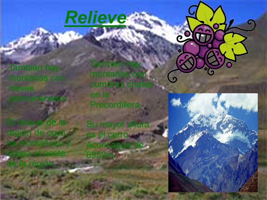 Relieve También hay montañas con cumbres chatas en la Precordillera.