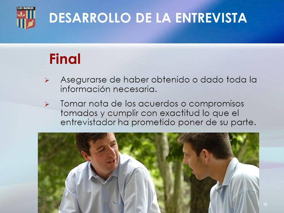 Final DESARROLLO DE LA ENTREVISTA