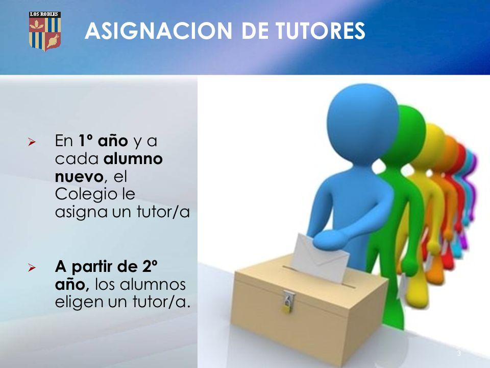 ASIGNACION DE TUTORES En 1º año y a cada alumno nuevo, el Colegio le asigna un tutor/a.