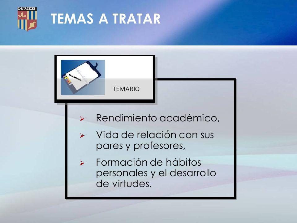 TEMAS A TRATAR Rendimiento académico,