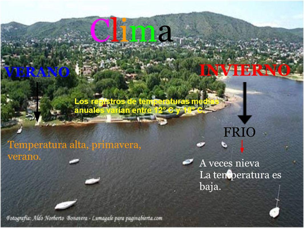 Clima INVIERNO VERANO FRIO Temperatura alta, primavera, verano.