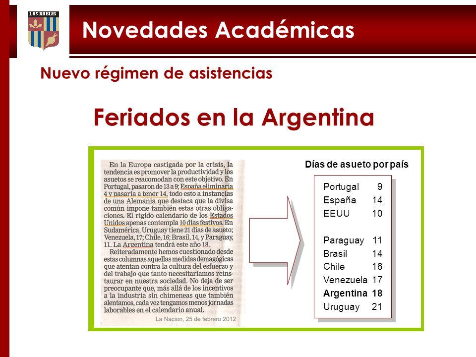 Feriados en la Argentina