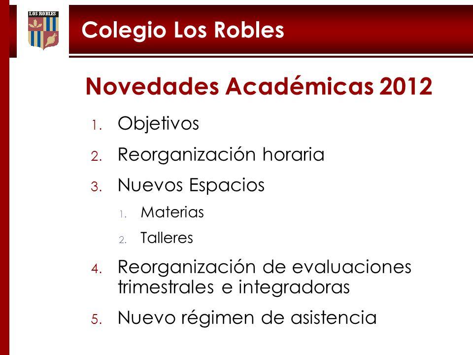 Novedades Académicas 2012 Colegio Los Robles Objetivos