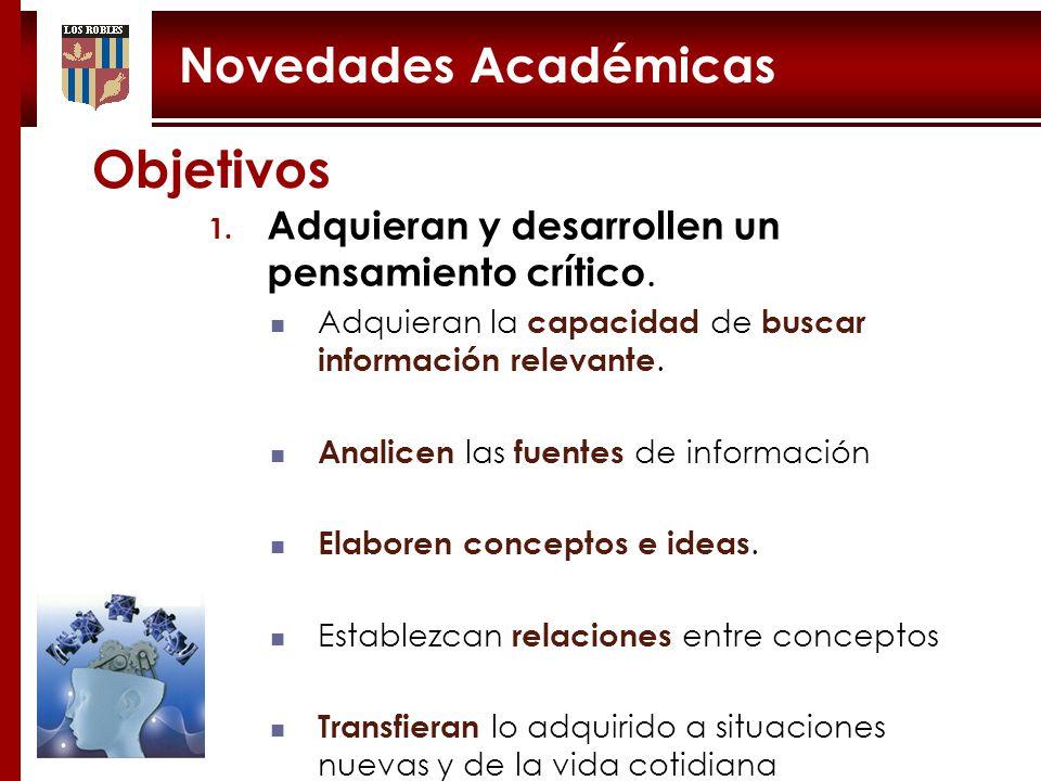 Objetivos Novedades Académicas
