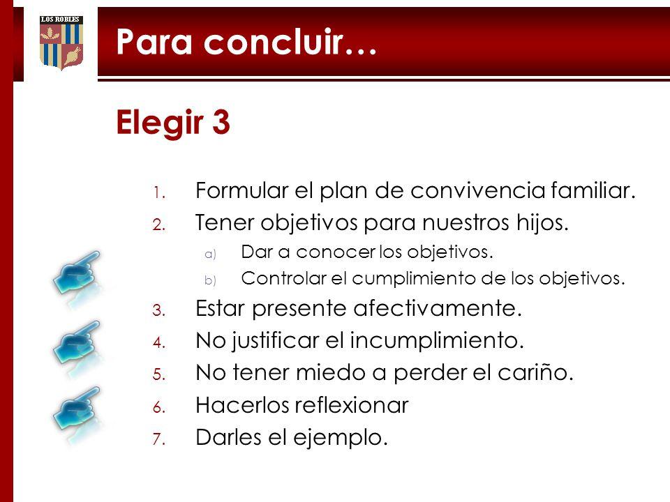 Para concluir… Elegir 3 Formular el plan de convivencia familiar.