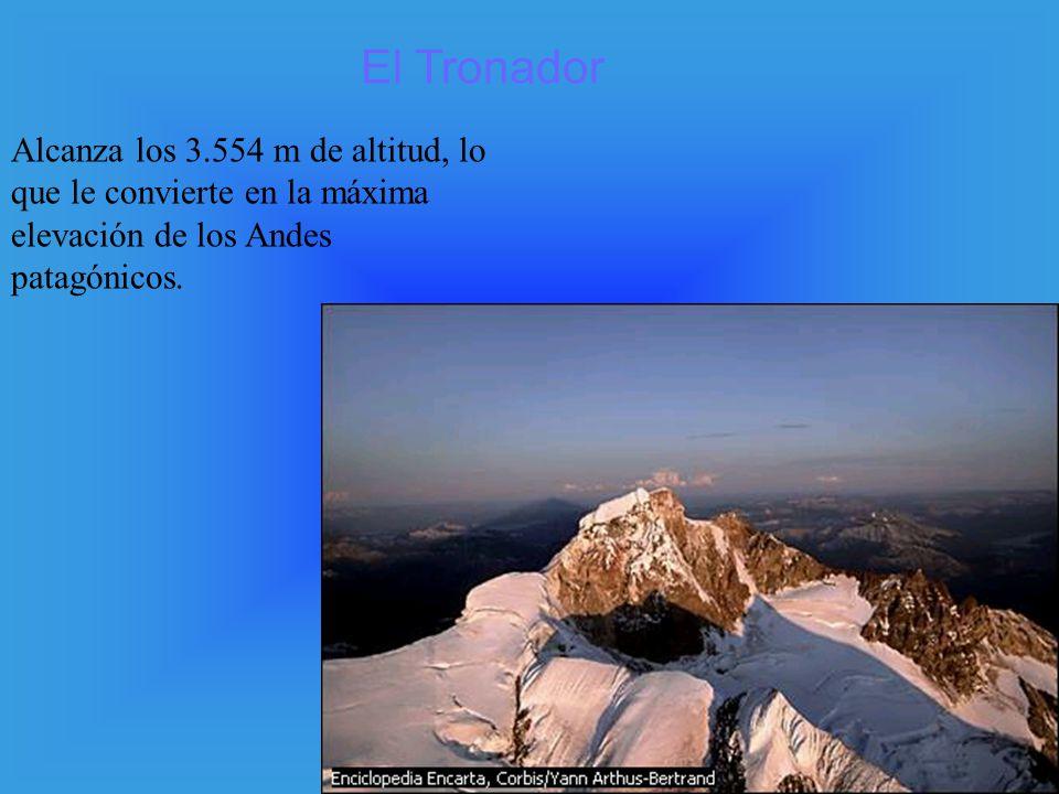 El Tronador Alcanza los 3.554 m de altitud, lo que le convierte en la máxima elevación de los Andes patagónicos.