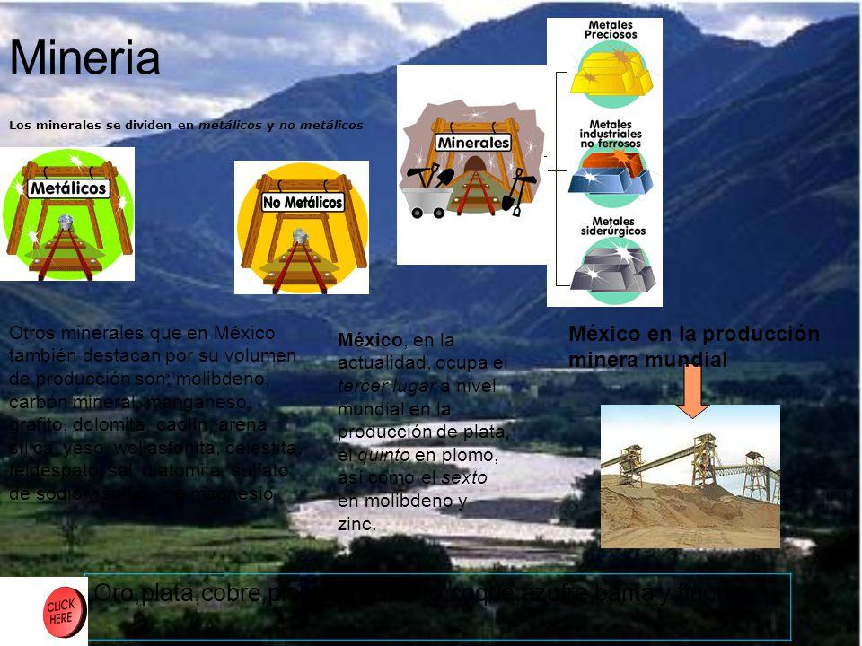 Mineria Los minerales se dividen en metálicos y no metálicos.