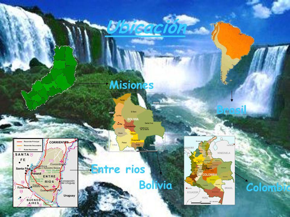 Ubicación Misiones Brasil Entre rios Bolivia Colombia