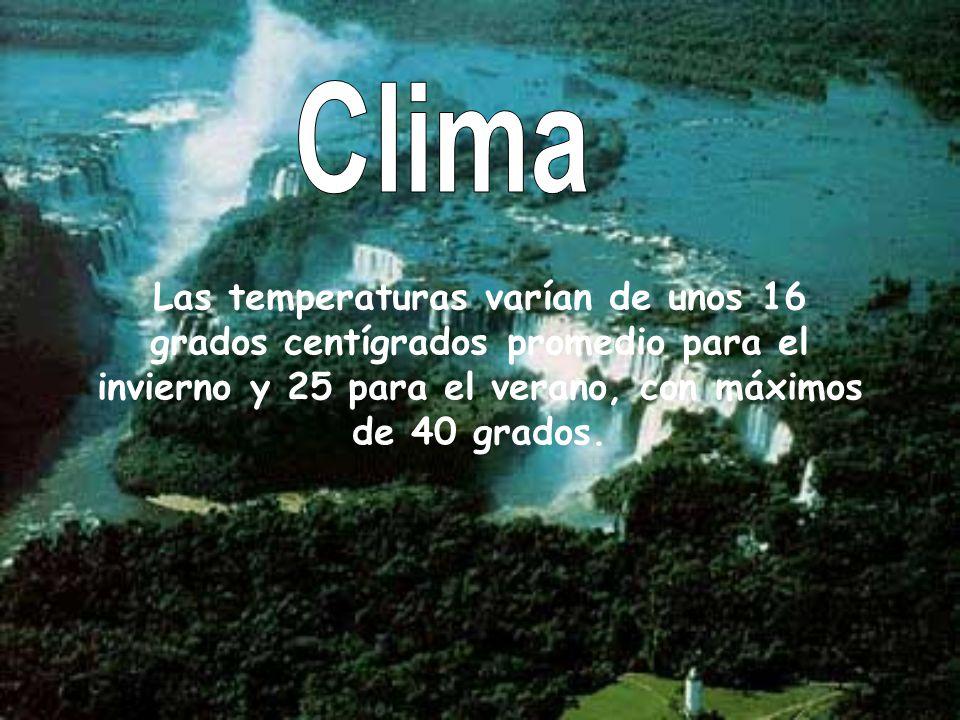 Clima Las temperaturas varían de unos 16 grados centígrados promedio para el invierno y 25 para el verano, con máximos de 40 grados.