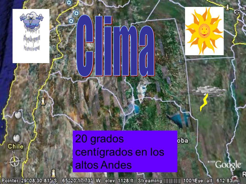 Clima 20 grados centígrados en los altos Andes