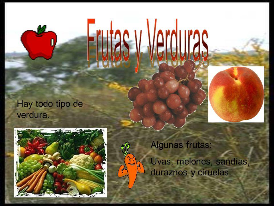 Frutas y Verduras Hay todo tipo de verdura. Algunas frutas: