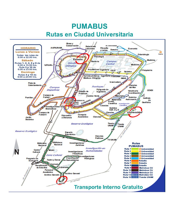 Rutas en Ciudad Universitaria Transporte Interno Gratuito