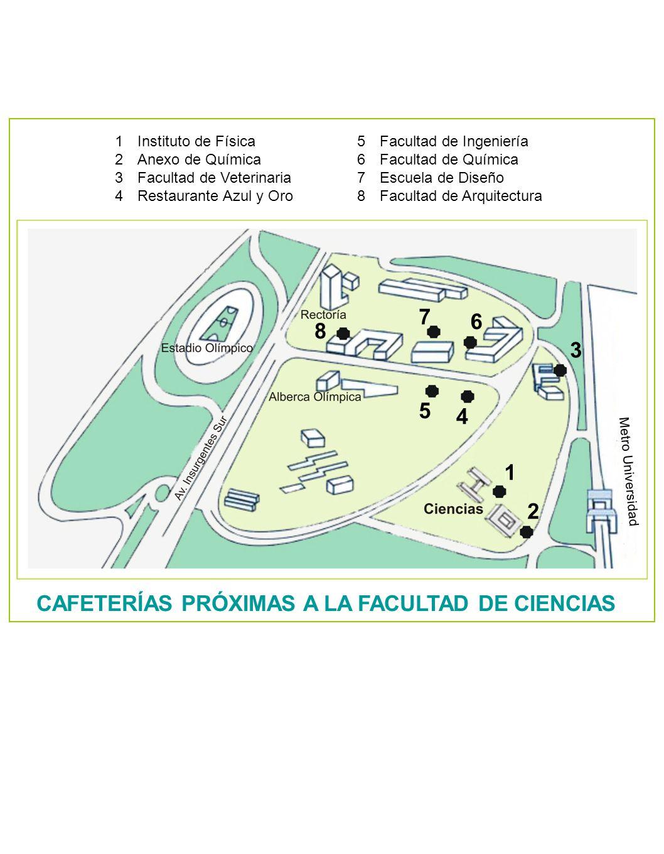 CAFETERÍAS PRÓXIMAS A LA FACULTAD DE CIENCIAS