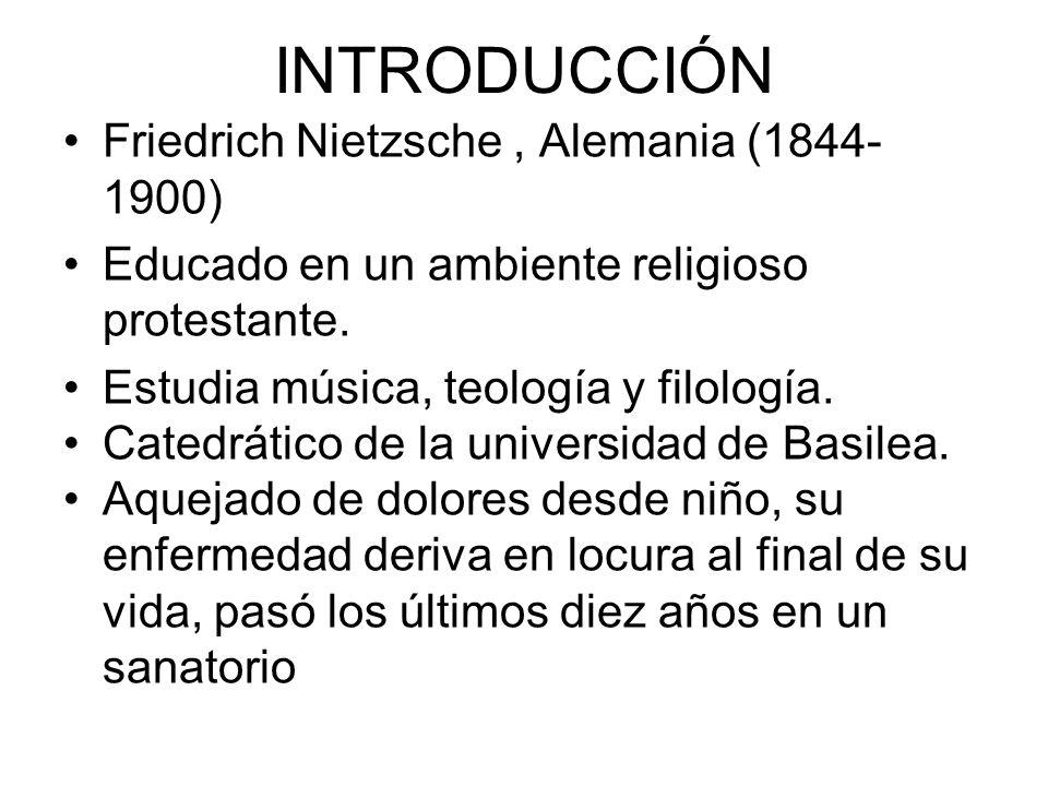 INTRODUCCIÓN Friedrich Nietzsche , Alemania (1844-1900)