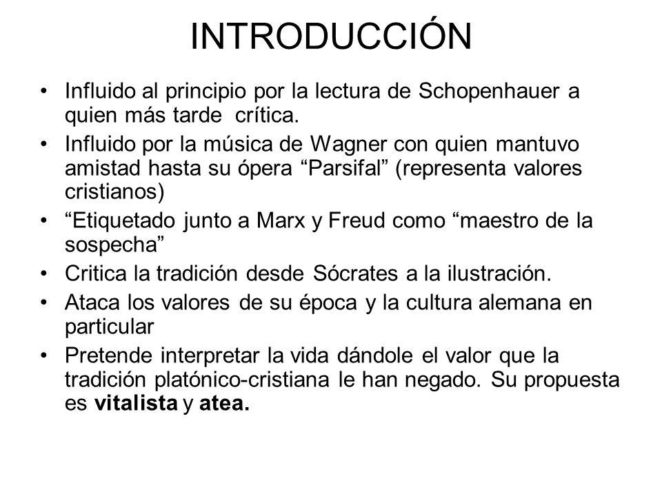 INTRODUCCIÓN Influido al principio por la lectura de Schopenhauer a quien más tarde crítica.