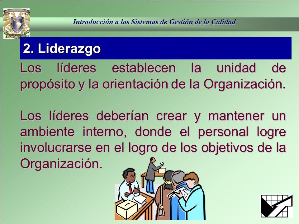 2. Liderazgo Los líderes establecen la unidad de propósito y la orientación de la Organización.