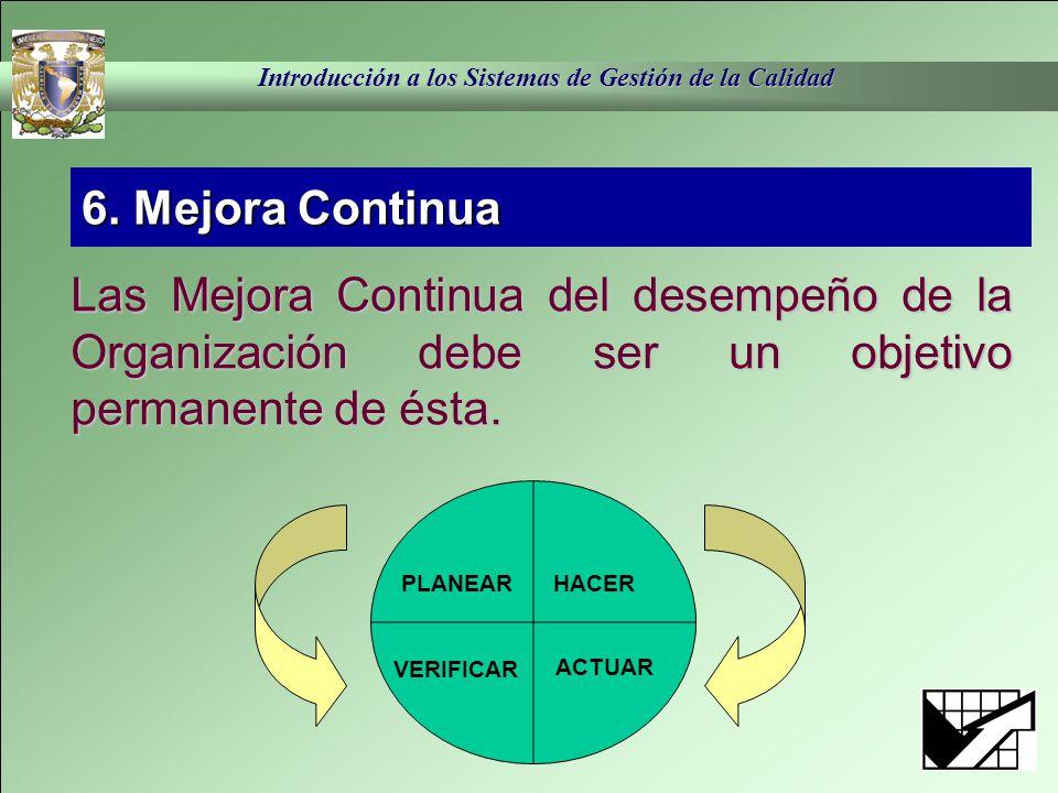 6. Mejora Continua Las Mejora Continua del desempeño de la Organización debe ser un objetivo permanente de ésta.