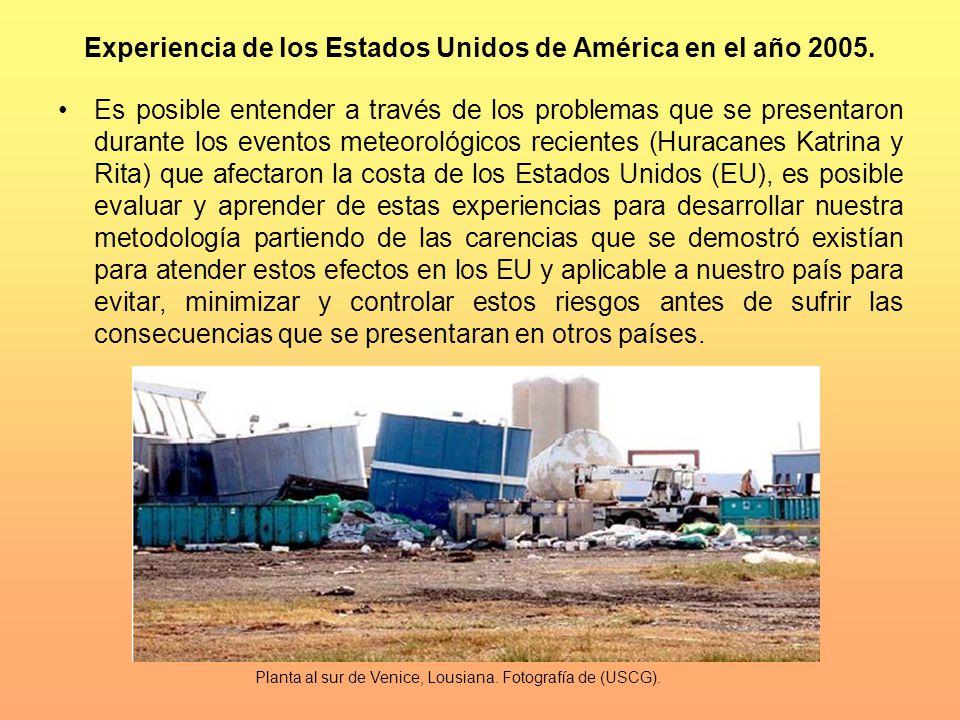Experiencia de los Estados Unidos de América en el año 2005.